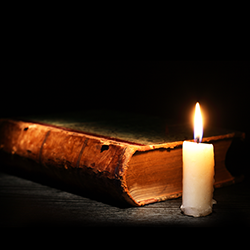 Medieval book and candle [square]